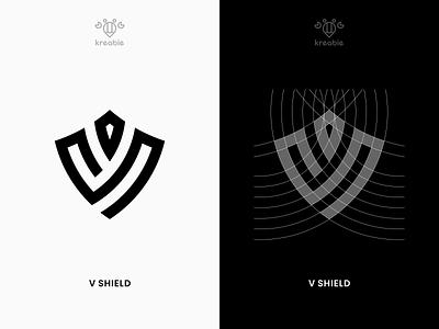 V SHIELD strong cool line modern minimalist monogram logo simple v logo shield