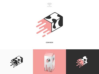 Cow Box - Logo Design cool modern minimalist monogram logo simple rocket box cow milk