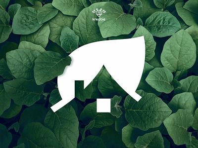 Green House - Logo Design modern line cool minimalist monogram logo simple tree house home green leaf