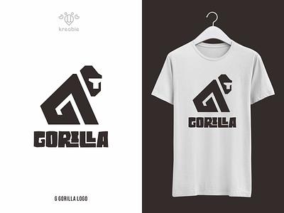 Gorilla Logo jungle animal ape initial wordmark gorilla