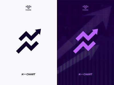 N Chart Logo trading chart n logo initial cool modern minimalist monogram simple logo