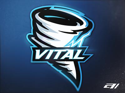 "Tornado ""Vital"" graphic design branding gradient icon mascot vector gaming design mascot logo illustration hurricane tornado blue logos sports sport team"