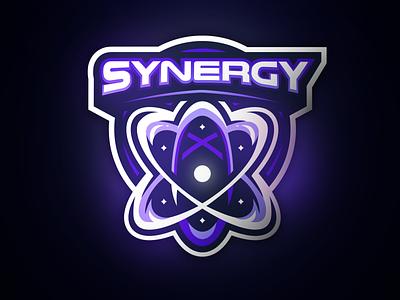 Atom symbol logo purple synergy gaminglogo atom logo atomic atom esports sports logo mascot logo illustration gaming athayadzn vector logo design branding