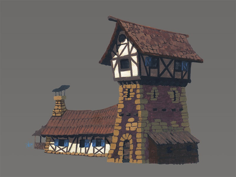 """3"""" painting gouache building house medieval illustration painting drawing"""