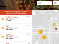 Store location search and map marker clustering
