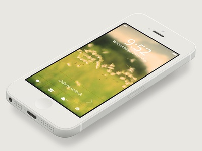 iPhone Lock Screen Design iphone lock screen clean modern flat ui concept apple