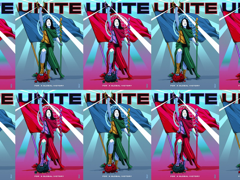 Unite For A Global Victory Posters inspire nurse doctor international worldwide global unity flag victory warrior graphicblack campaign design campaign medical covid social issue vector propaganda coronavirus posters