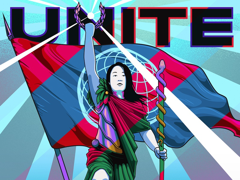 Unite for Global Victory Detail graphicblack covid19 nurse doctor laurel wreath hope humanitarian human race unity banner flag armor snake warrior woman medical corona virus classical victory