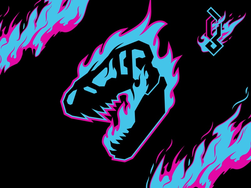 Psychosaurus icon goth shirt sci-fi graphic merch design neon metal merchandise merch black logo illustration vector