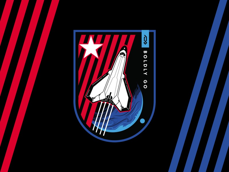 Boldly Go III patriotic explorer shuttle launch spaceship spaceman spacex nasa emblem logo badge design space emblem badge branding design illustration logo tshirt vector black graphicblack