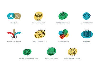 international school icons vector web illustration ui design