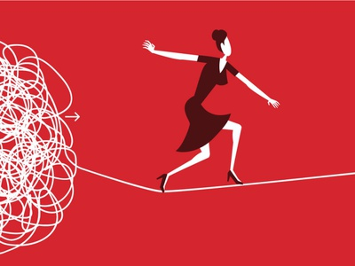 tightrope walking vector website illustration flat ui design