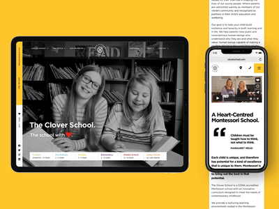 The Clover School minimal interfaces colourful motion visual design branding logo layout interface canada clean ui design website web toronto school montessori