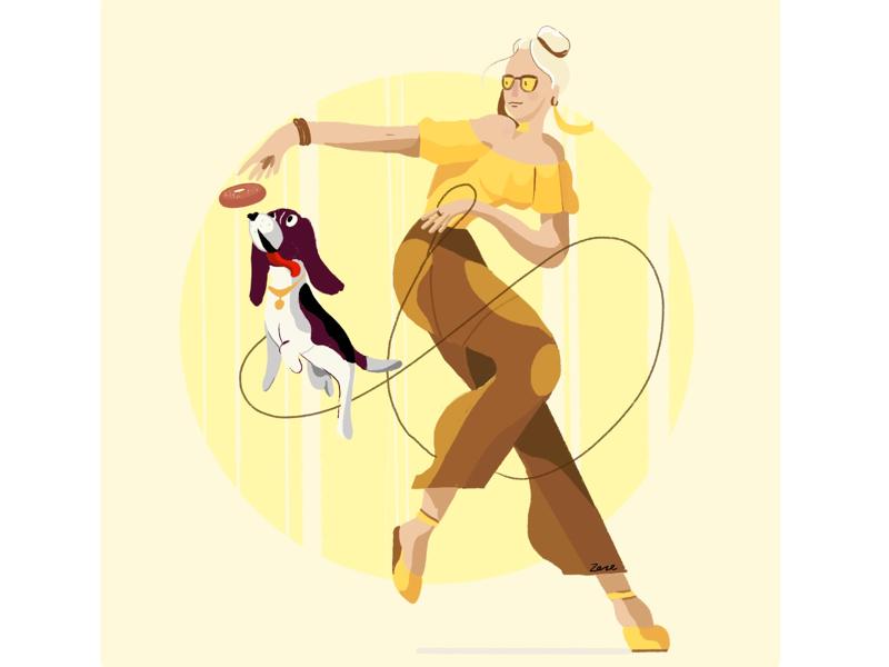 dance with doggy procreate character animal dog illustration