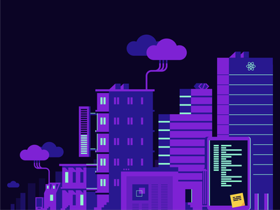 Digital Transformation developer technology cityscape city branding illustration design architecture engineering company tech yld