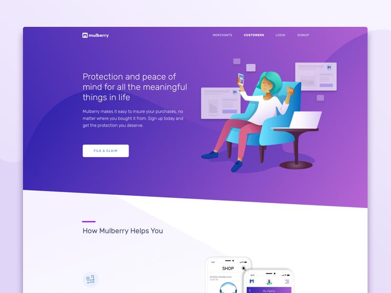 Mulberry Customer Solutions ui purple user protection warranty customer consumer illustration desktop