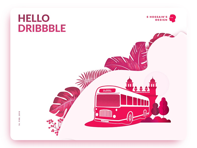 Hello Dribbble! bus debut latest new hello first shot pink illustration newbie debuts hello dribble