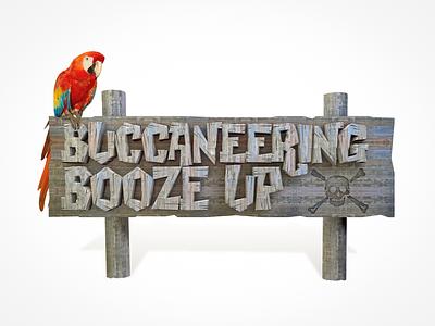 Buccaneering Booze Up parrot booze pirate caribbean bird 3d render cinema 4d c4d sign wood virgin