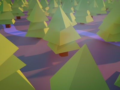 Low Poly - Trees low poly trees c4d render river cartoon gi