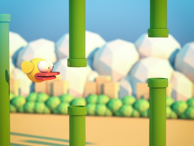 Flappy Bird render flappy bird c4d pipes cinema 4d low poly