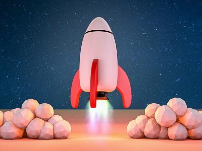 Rocket virgin rocket c4d cinema4d render 3d low poly space fire