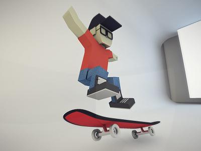 Low Poly Skater low poly skater cinema 4d render fisheye glasses skateboard hat