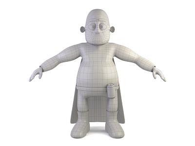 Very Experienced Dad - wireframe wireframe character 3d modo model render hero superhero