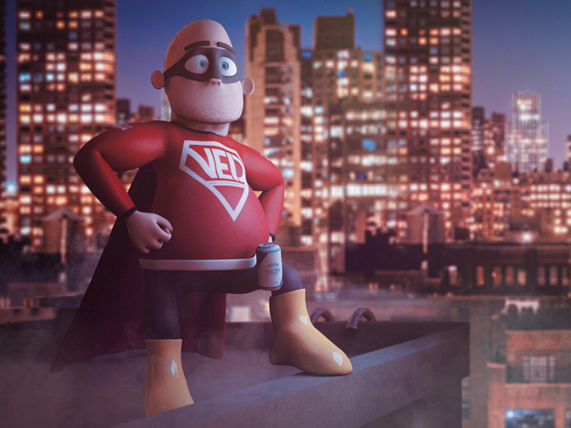 Very Experienced Dad - Rooftops character 3d modo model render hero superhero
