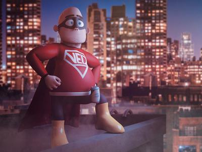 Very Experienced Dad - Rooftops character 3d modo model render hero superhero