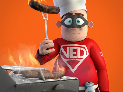 Very Experienced Dad - BBQ sausages bbq character 3d modo model render hero superhero