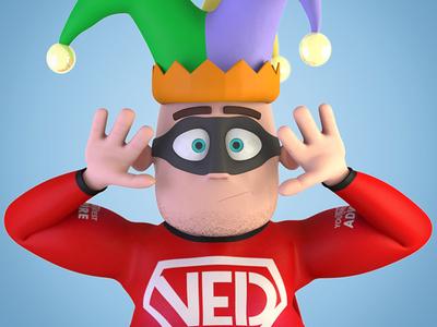 Very Experienced Dad - Jester jester character 3d modo model render hero superhero