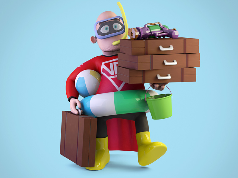 Very Experienced Dad - Holiday holiday character 3d modo model render hero superhero