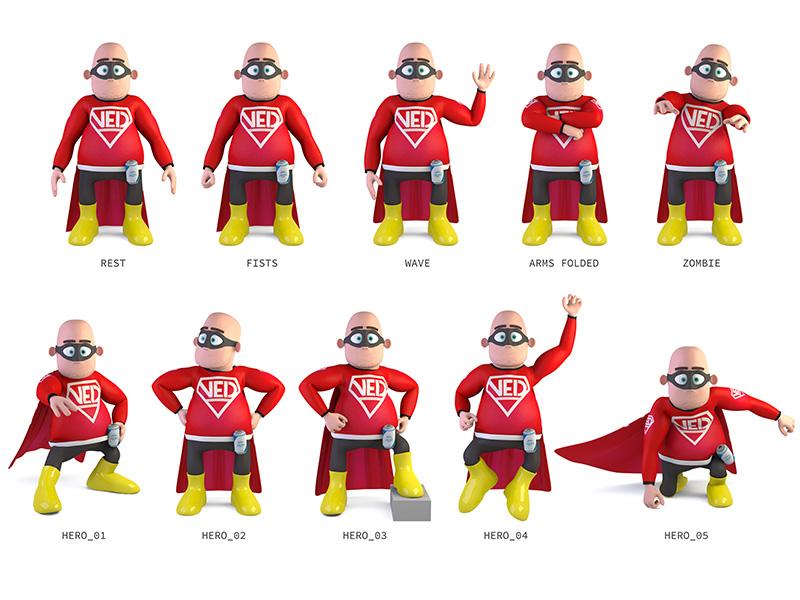 Very Experienced Dad - Poses rigging poses character 3d modo model render hero superhero