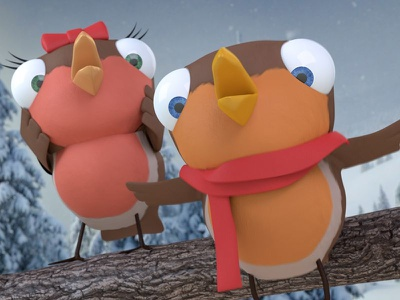 Ruby and Ralph advert christmas robins birds characters animation render modo 3d