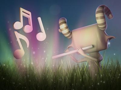 Magical Flute magical mystical character goro fujita 3d render modo