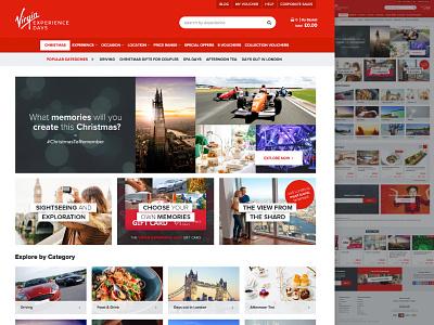 Virgin Experience Days - New Website ecommerce e-commerce experience modular panels mega nav web design virgin mobile website