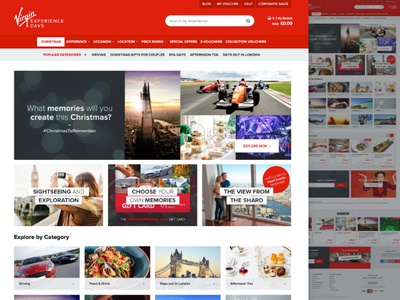 Virgin Experience Days - New Website ecommerce e-commerce experience modular panels mega nav web design virgin mobile website