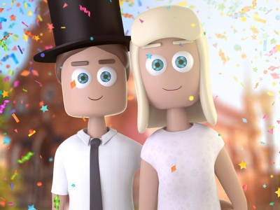 The Wedding Picture model character couple wedding animation modo 3d render