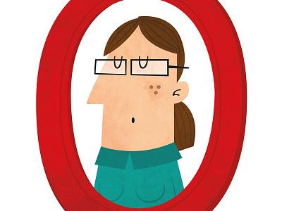 Framed woman woman framed glasses illustration