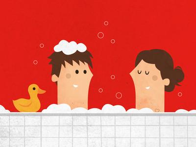 Bath illustration bath duck bubbles