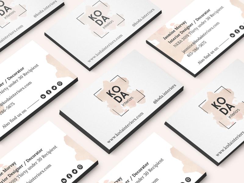 KODAinteriors Business Cards minimalist logo minimalist design logo design brand identity brand design adobe illustrator interior designer business card business card design branding logo
