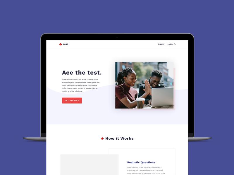 Practice Test Homepage Design sketchapp web design ui digital design