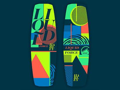 Wakeboard Art // Liquid Force skate graphic design graphic neon geometric geo wakeboard wake branding vector design logo