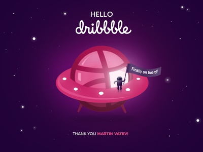 Dribbble Debut first shot thanks invite illustration cosmos hello debut dribbble spaceship