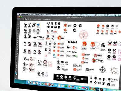 Terra design process work in progress geodesy brand identity logotype logo construction branding logo