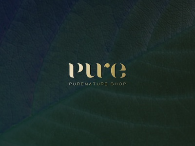 Pure Nature logo typography gold logo pure logo branding natural cosmetics logo natural cosmetics pure nature wordmark logo