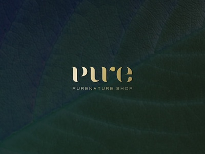 Pure Nature logo typography gold logo pure logo branding natural cosmetics logo natural cosmetics pure nature wordmark logo