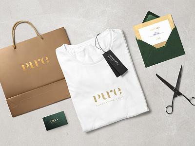 Pure Nature logo logo wordmark pure nature natural cosmetics natural cosmetics logo pure logo gold logo typography branding stationery