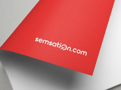 Semsation logo sem seo search red signet branding wordmark sem agency logo