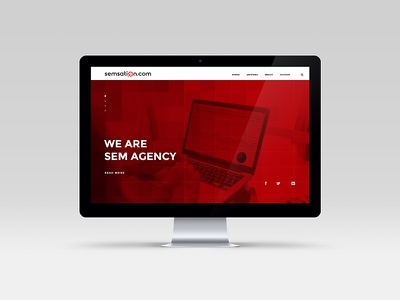 Homepage design proposal logo construction sem seo search red signet branding wordmark sem agency logo web design